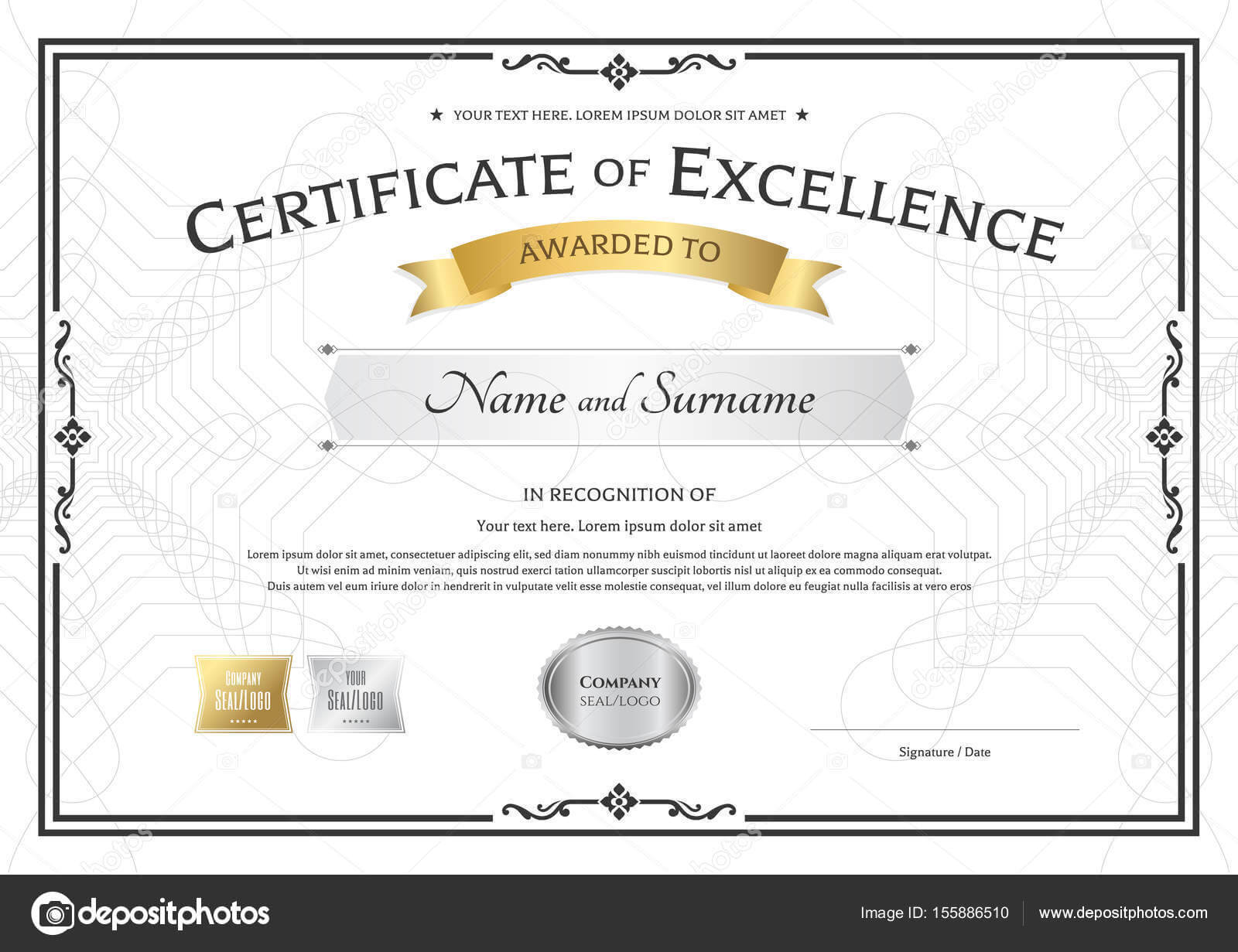 Printable Award Ribbon Templates | Certificate Of Excellence Within Award Of Excellence Certificate Template