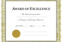 Printable Award Templates – Colona.rsd7 with regard to Certificate Of Excellence Template Free Download