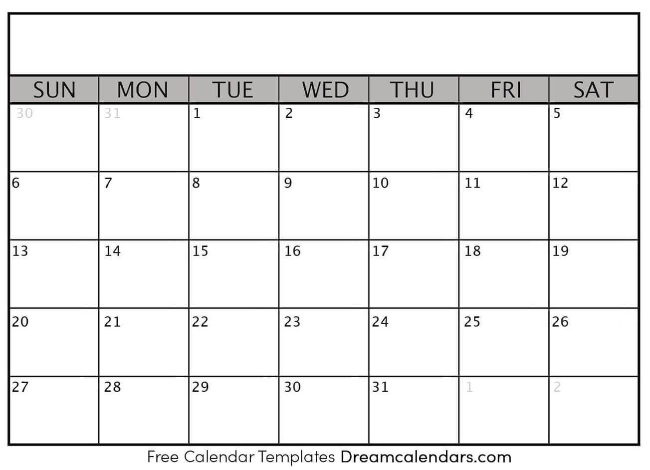 Printable Blank Calendar 2020 | Dream Calendars Intended For Blank One Month Calendar Template