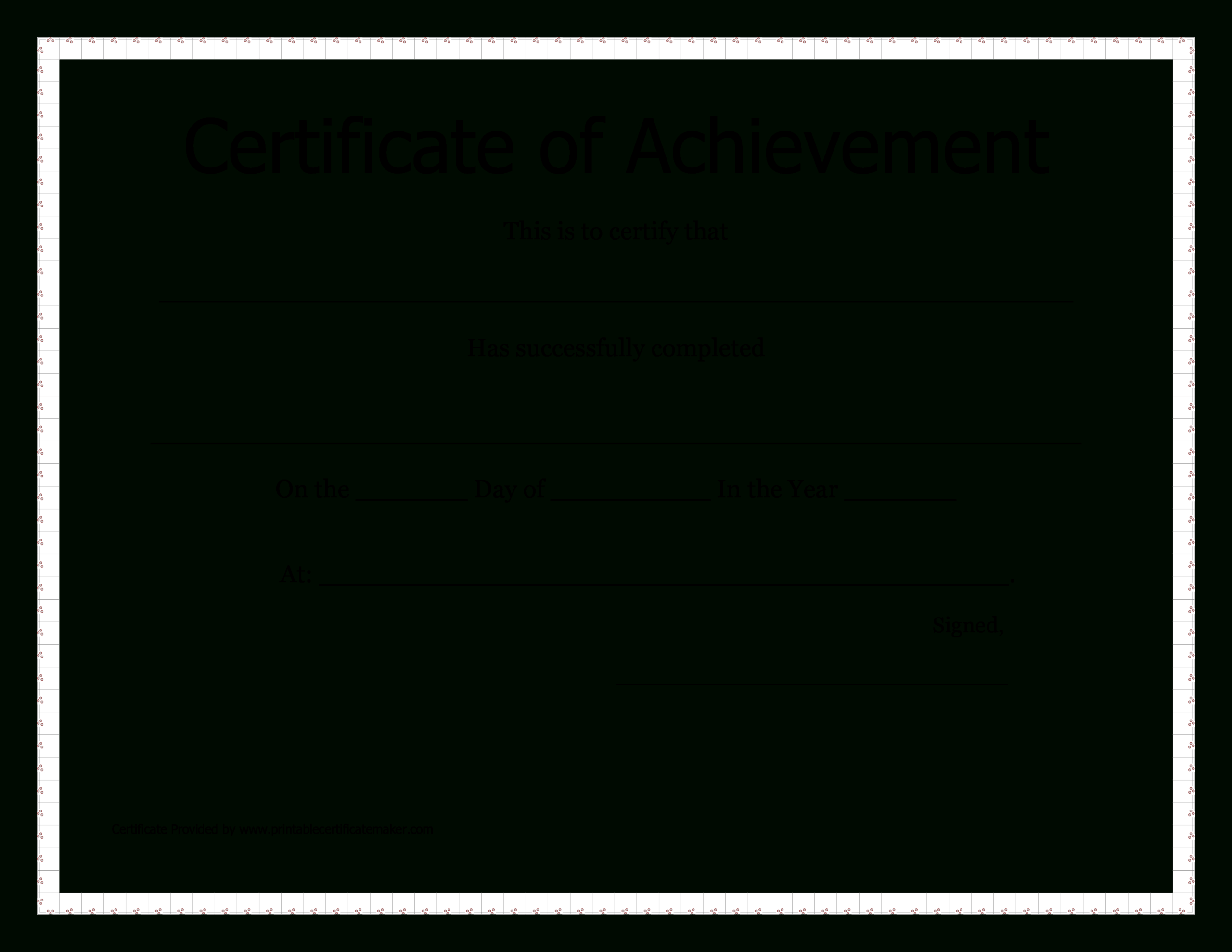 Printable Certificate Of Achievement | Templates At Within Blank Certificate Of Achievement Template