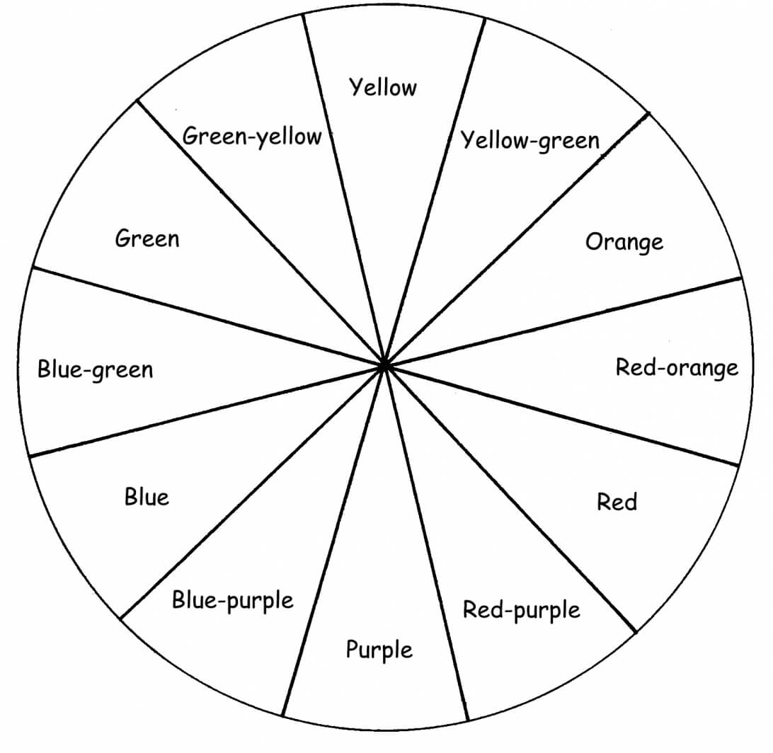 Printable Color Wheel For Painting Free Blank Worksheet Pdf Intended For Blank Color Wheel Template
