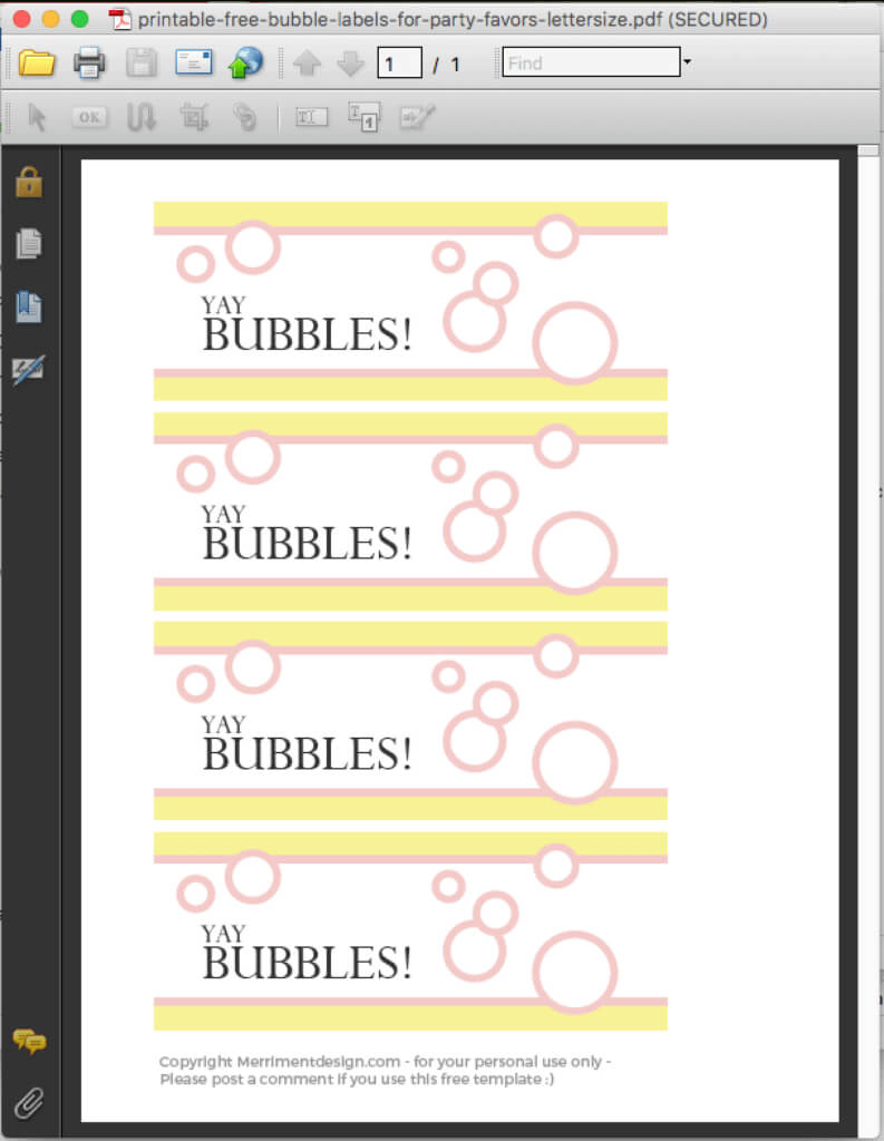 Printable Free Bubble Labels For Party Favors - Merriment Design Inside Bubble Bottle Label Template