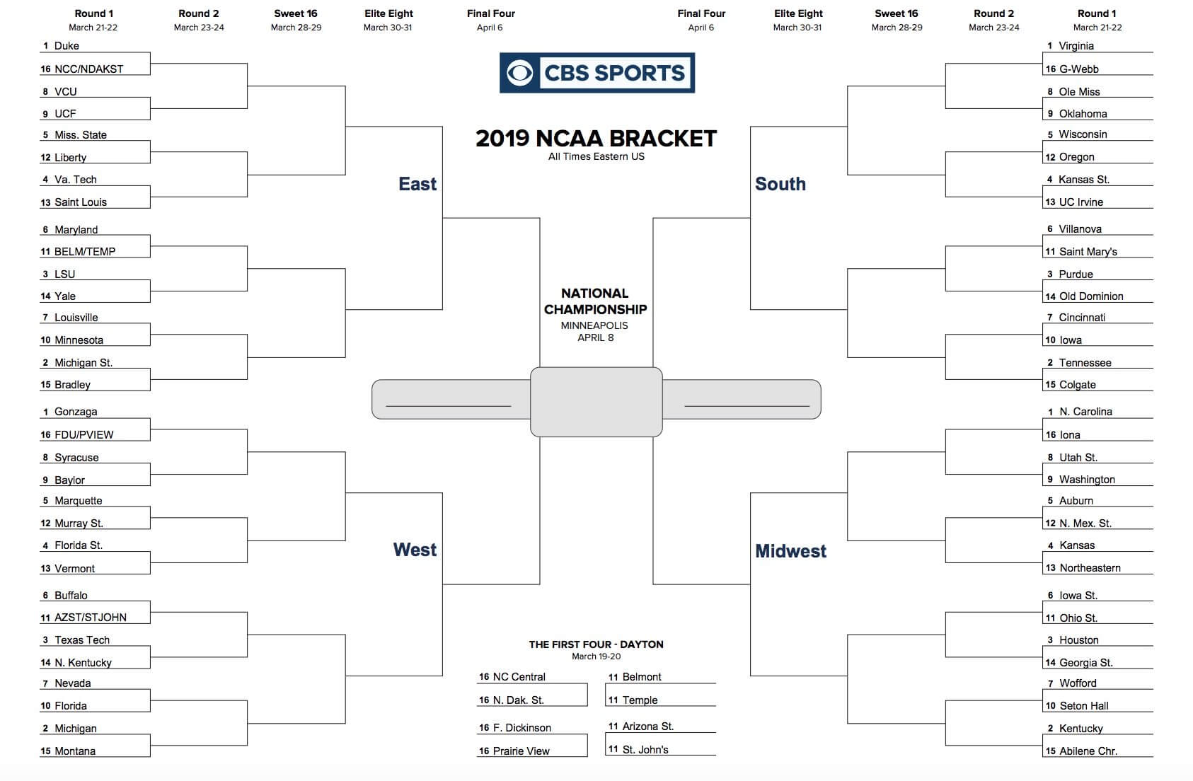 Printable Ncaa Tournament Bracket For March Madness 2019 Inside Blank Ncaa Bracket Template