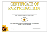 Printable Participation Certificate | Templates At intended for Certificate Of Participation In Workshop Template