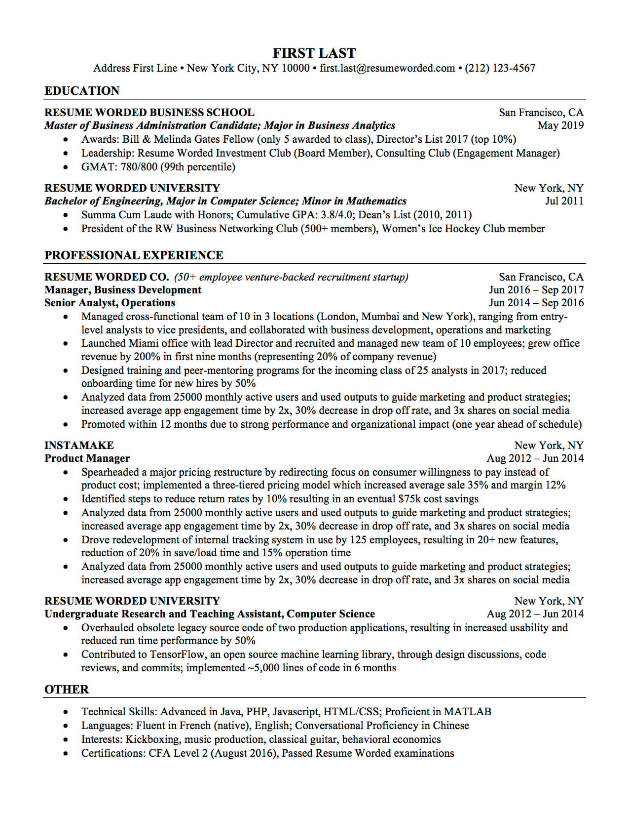 Professional Ats Resume Templates For Experienced Hires And Intended For Ats Friendly Resume Template