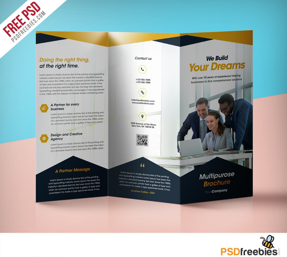 Professional Corporate Tri Fold Brochure Free Psd Template For 3 Fold Brochure Template Free