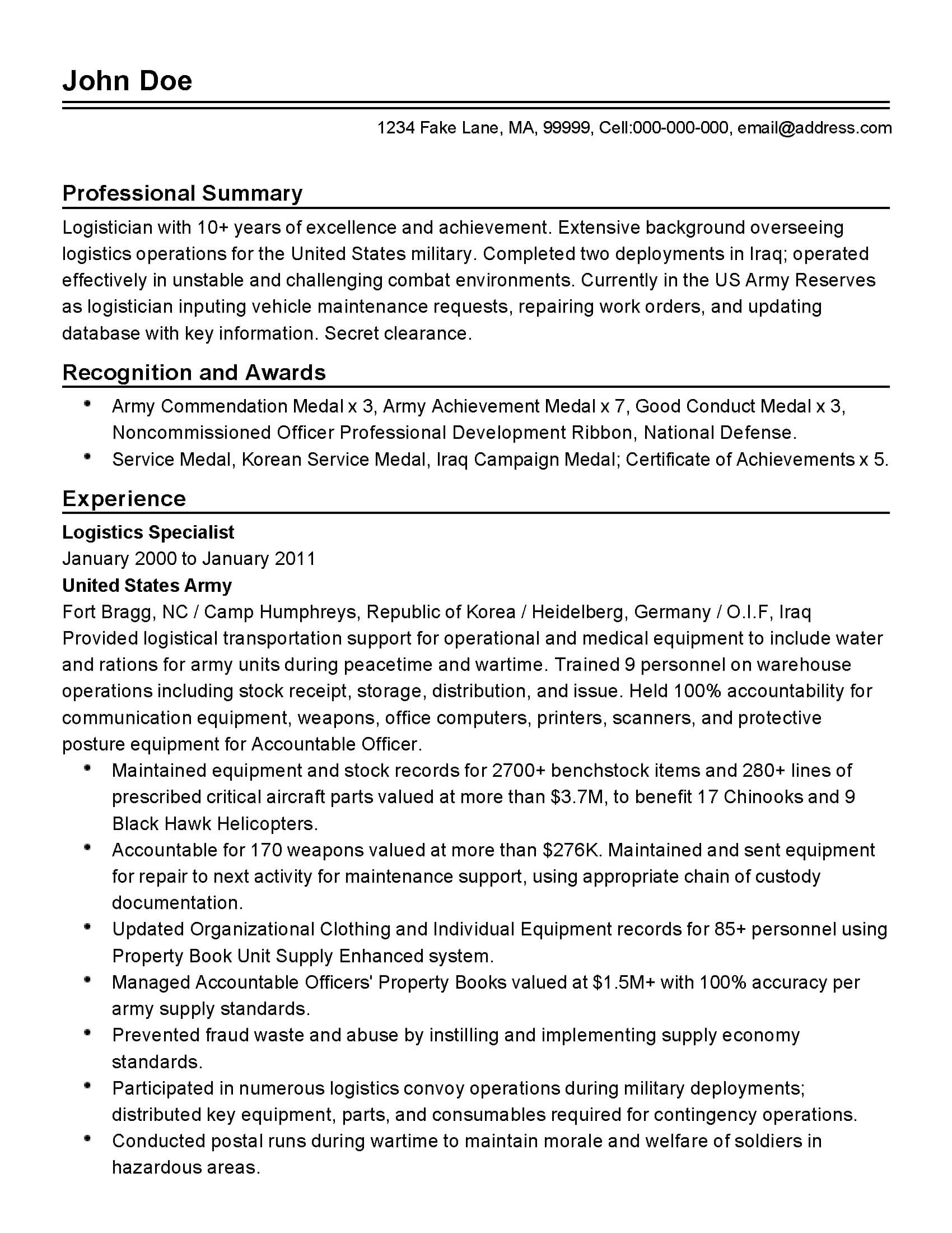 Professional Military Logistician Templates To Showcase Your Throughout Army Good Conduct Medal Certificate Template