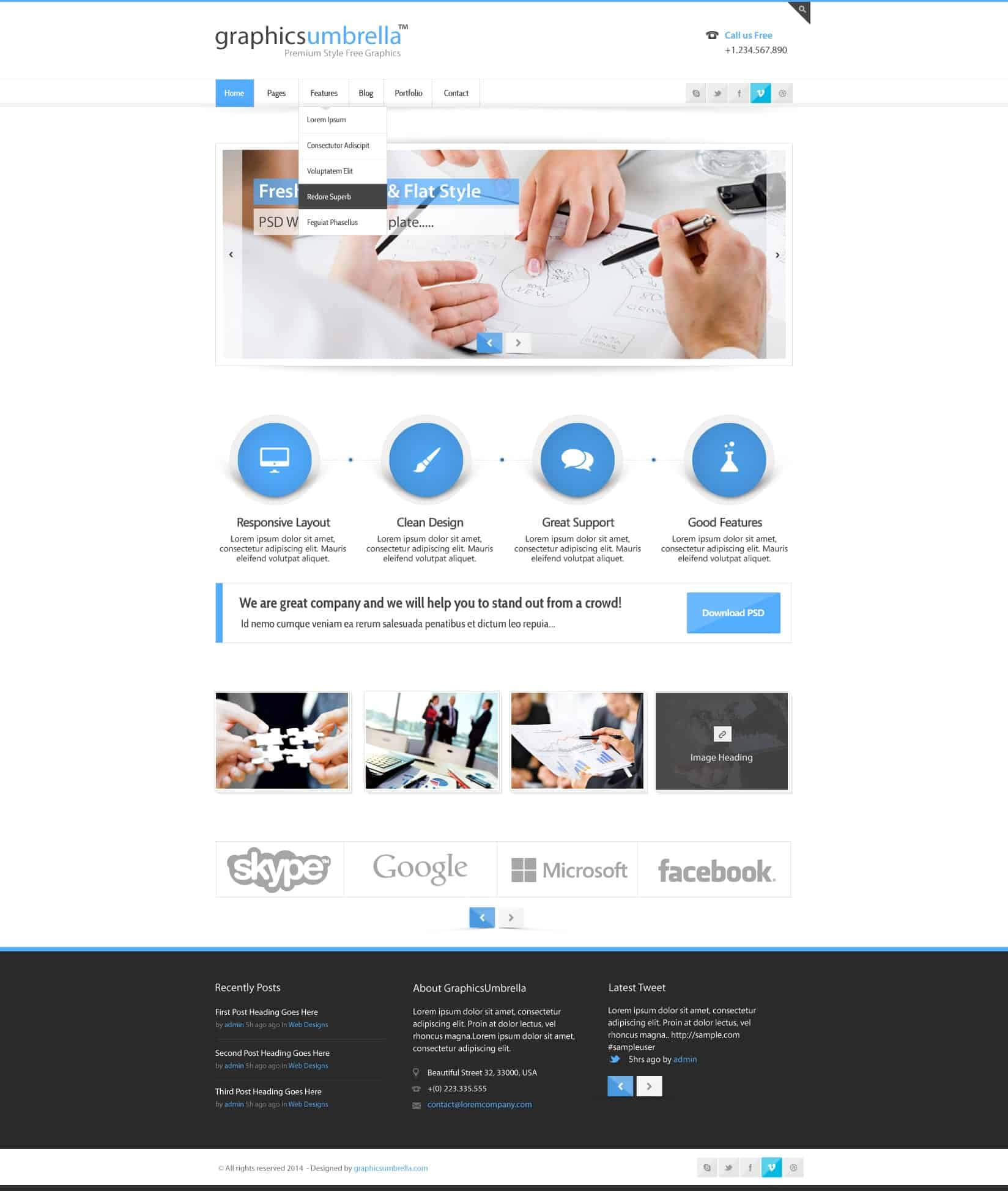 Psd Corporate Business Web Design Template - Designscanyon Throughout Business Website Templates Psd Free Download