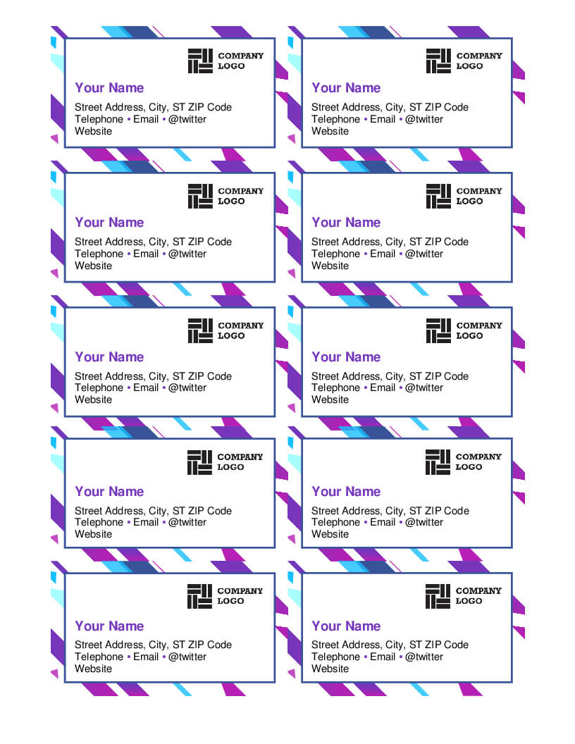 Purple Graphic Business Cards With Business Cards Templates Microsoft Word