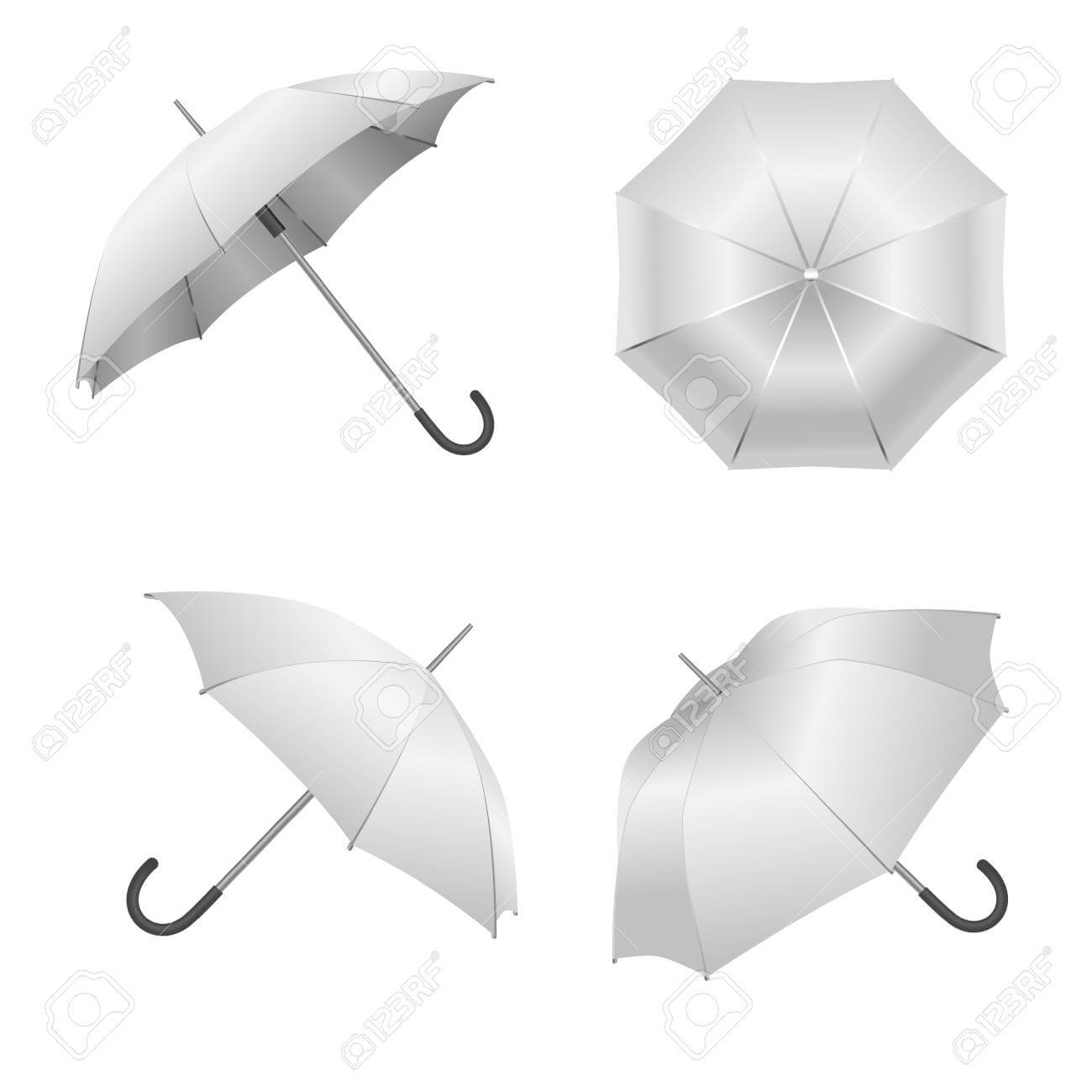 Realistic Detailed 3D White Blank Umbrella Template Mockup Set.. Intended For Blank Umbrella Template