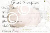 Reborn Birth Certificate Template Free throughout Baby Doll Birth Certificate Template