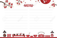 Restaurant Cafe Menu, Template Design In Cartoon Style. Asian.. throughout Asian Restaurant Menu Template