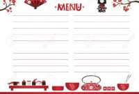 Restaurant Cafe Menu, Template Design In Cartoon Style. Asian.. with regard to Asian Restaurant Menu Template