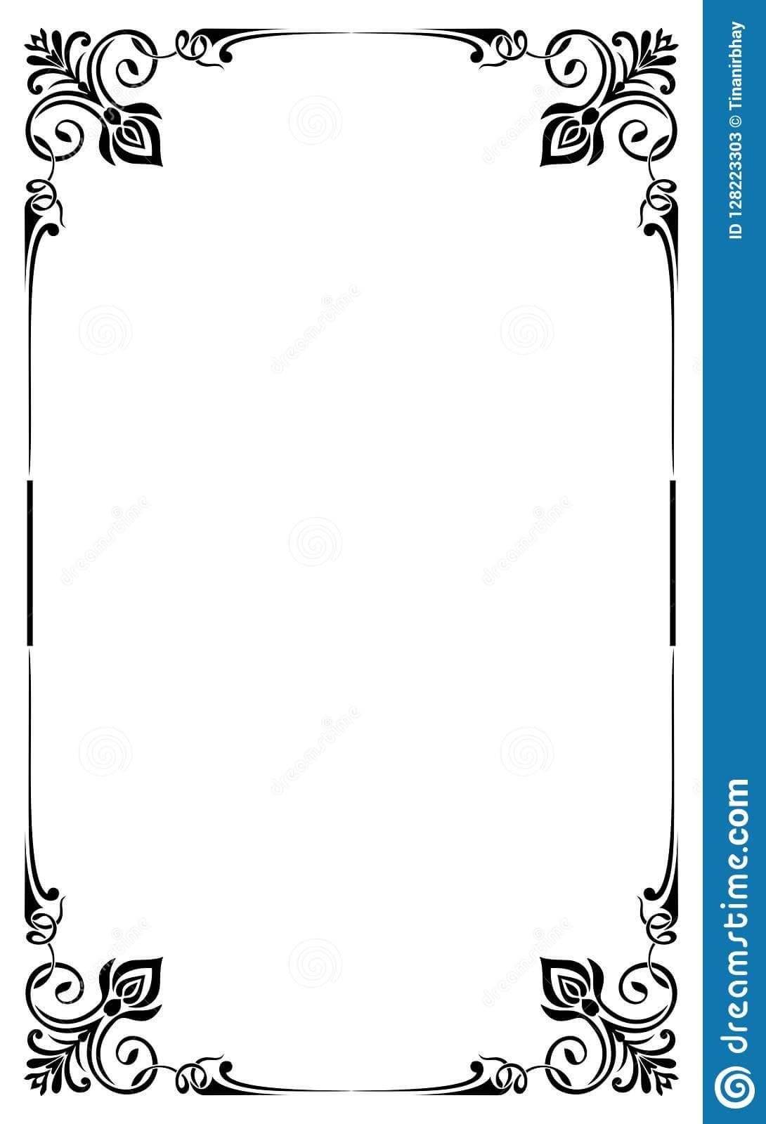Restaurant Menu Card Frame Template Stock Vector For Blank Restaurant Menu Template