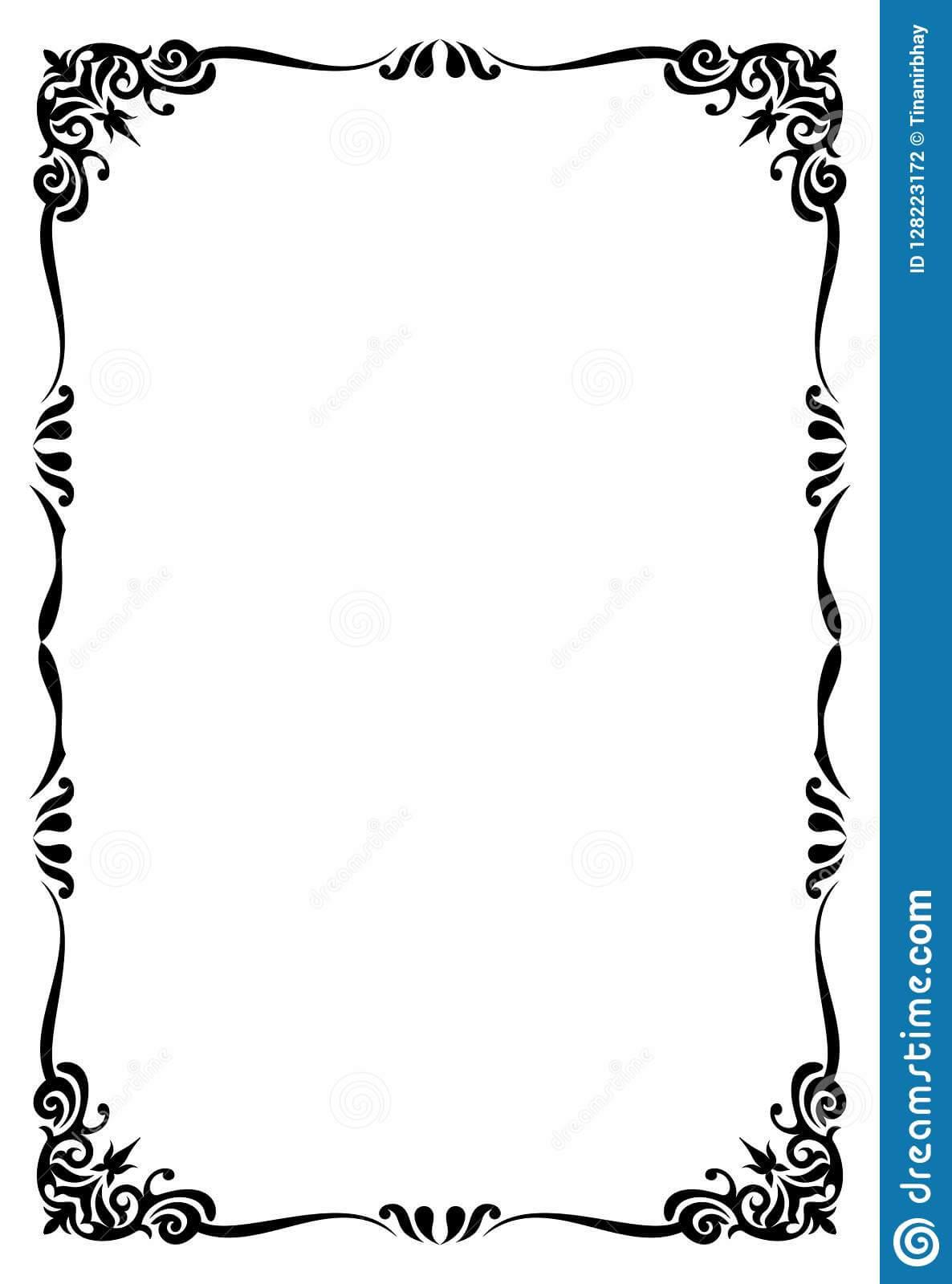 Restaurant Menu Card Frame Template Stock Vector Intended For Blank Restaurant Menu Template