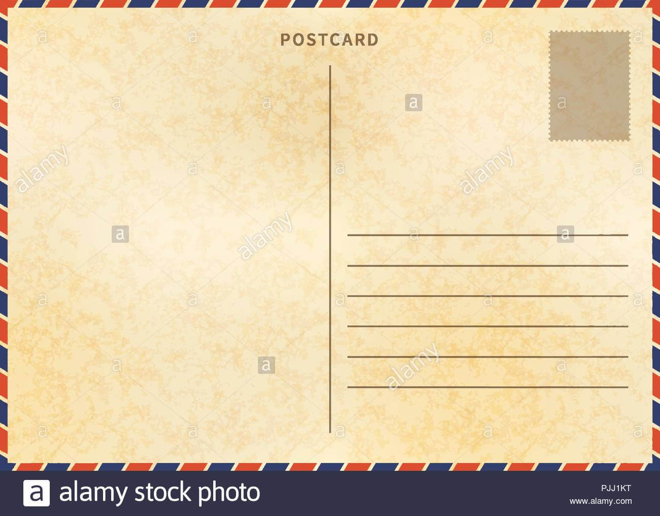 Retro Blank Postcard Template With Airmail Border And Paper Within Airmail Postcard Template