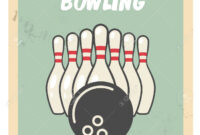 Retro Bowling Party Flyer With Skittles And Ball. with regard to Bowling Party Flyer Template