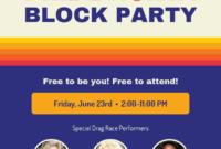 Retro Pride Block Party Event Flyer Template intended for Block Party Template Flyers Free