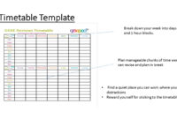 Revision Template. Timetable Revision Template Printable with Blank Revision Timetable Template