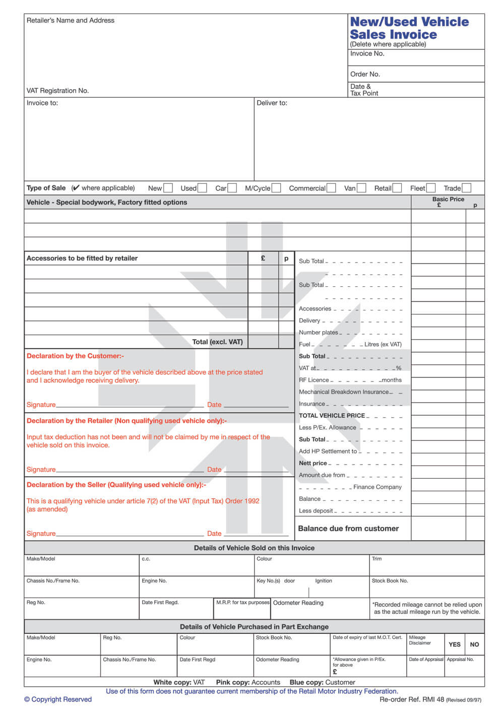 Rmi048 – New / Used Vehicle Sales Invoice Pad In Car Sales Invoice Template Uk