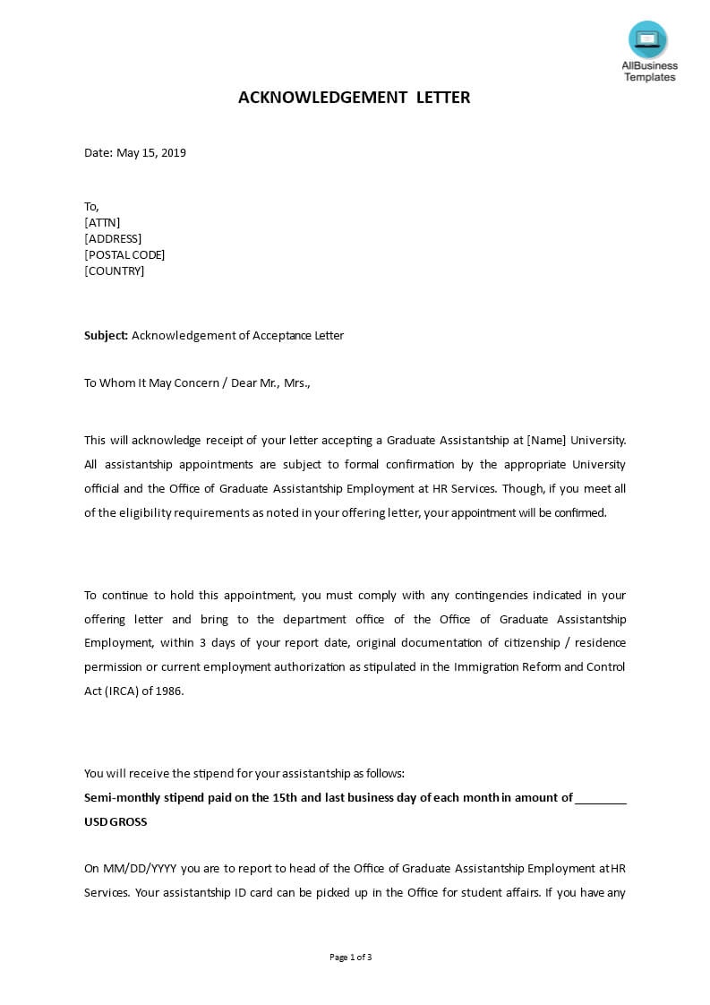 Sample Acknowledgement Of Acceptance Letter | Templates With Acceptance Card Template