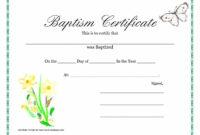 Sample Baptism Certificate Templates – Sample Certificate intended for Baptism Certificate Template Word