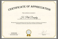 Sample Company Appreciation Certificate Template Within pertaining to Certificates Of Appreciation Template