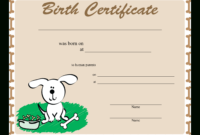 Sample Dog Birth Certificate   Templates At regarding Birth Certificate Templates For Word