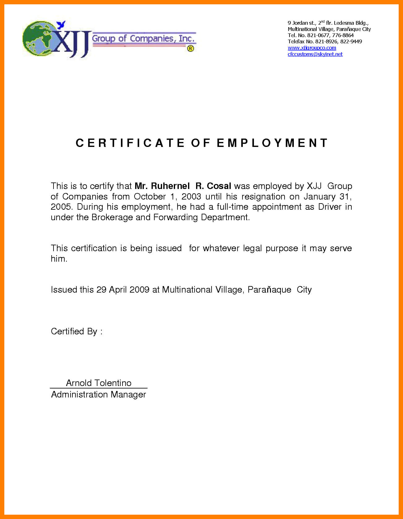 Sample For Certificate Of Employment - Tunu.redmini.co Intended For Certificate Of Employment Template