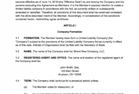 Sample Operating Agreements – Colona.rsd7 in Articles Of Organization Template