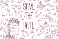 Save Date Wedding Doodle Line Banner Stock Vector (Royalty with regard to Bride To Be Banner Template