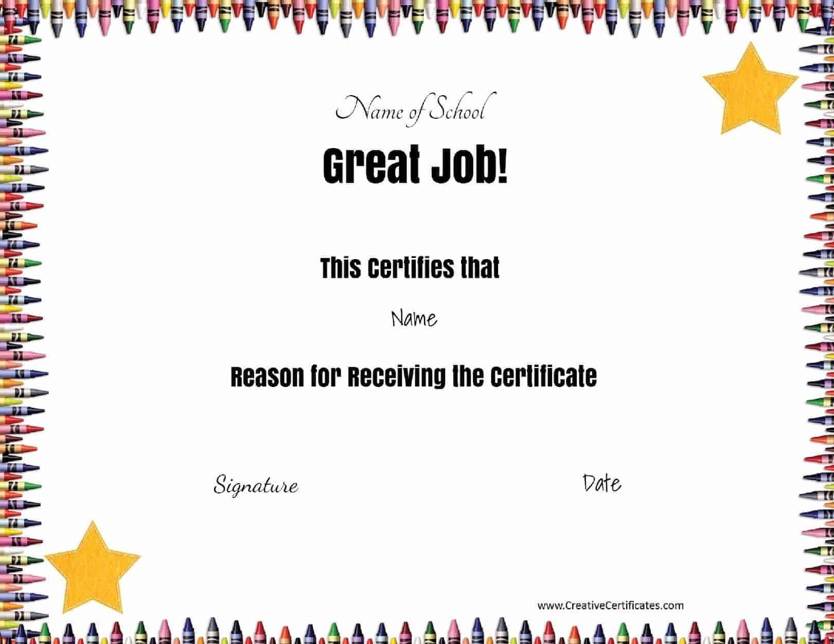 School Certificates Inside Certificate Templates For School