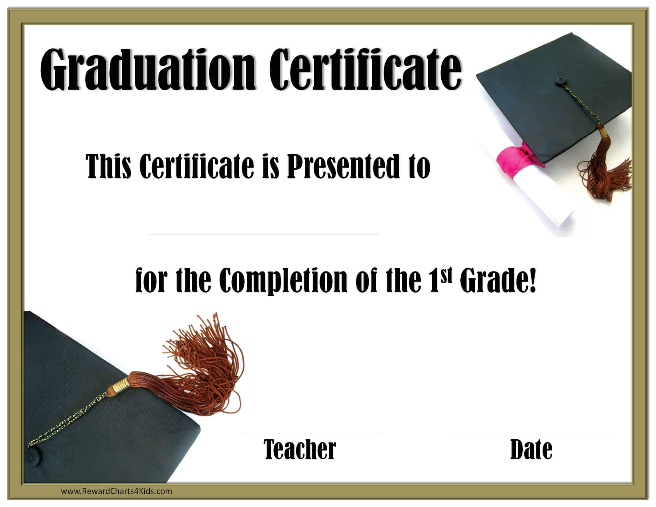 School Graduation Certificates | Customize Online With Or Regarding 5Th Grade Graduation Certificate Template