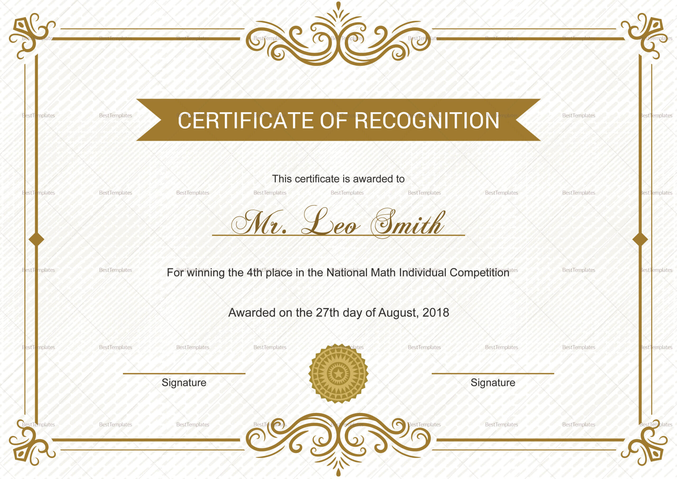 School Recognition Certificate Template In Certificate Templates For School