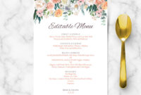 Secret Garden Vintage Flowers Menu Template throughout Bridal Shower Menu Template