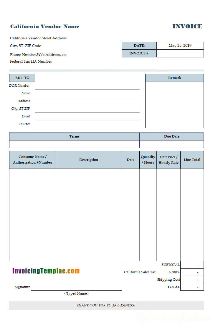 Service Invoice Template For Car Service Invoice Template Free Download