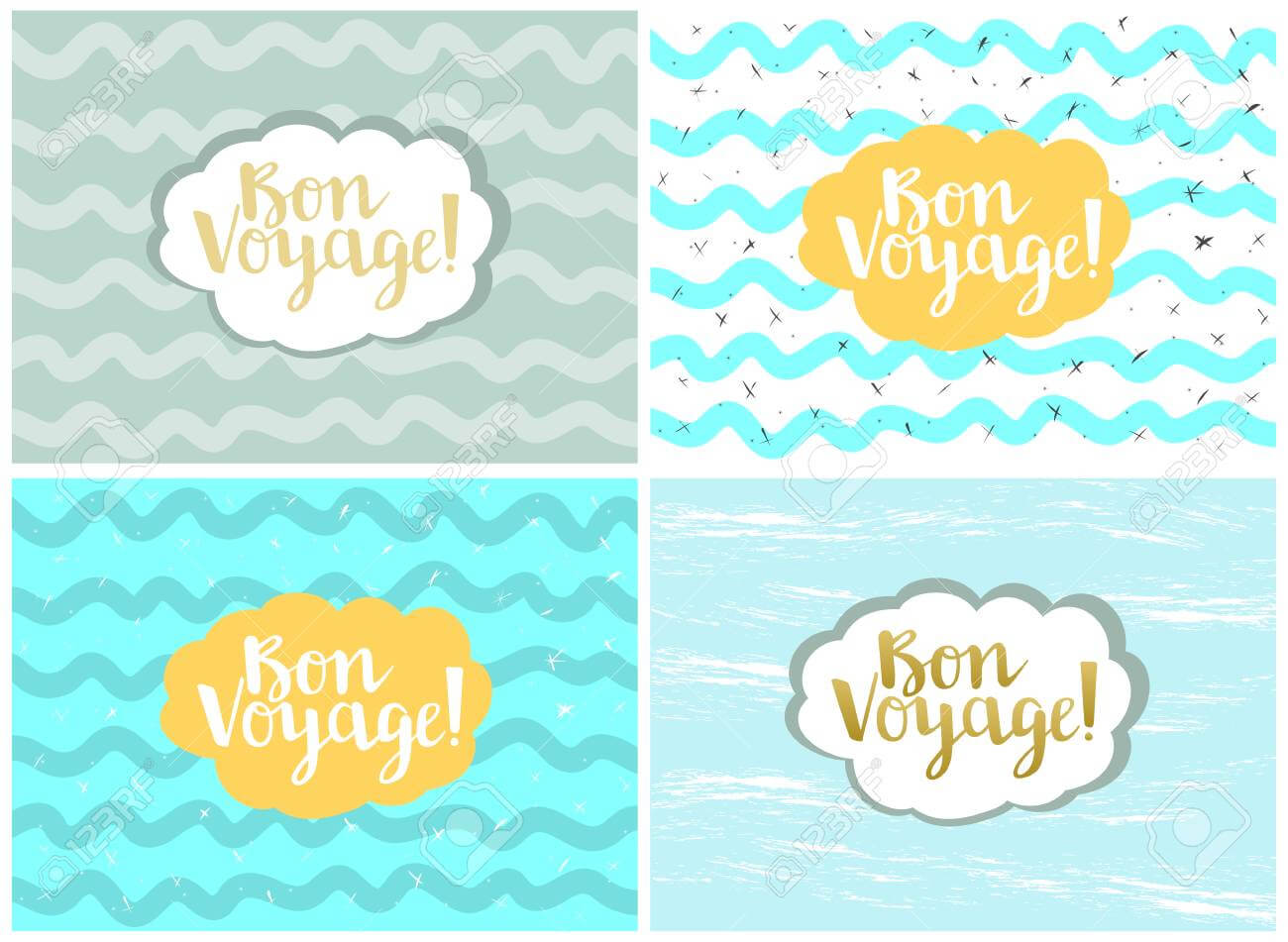 Set Of Four Cards, Vector Templates. Bon Voyage. Inside Bon Voyage Card Template