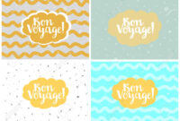Set Of Four Cards, Vector Templates. Bon Voyage. with Bon Voyage Card Template