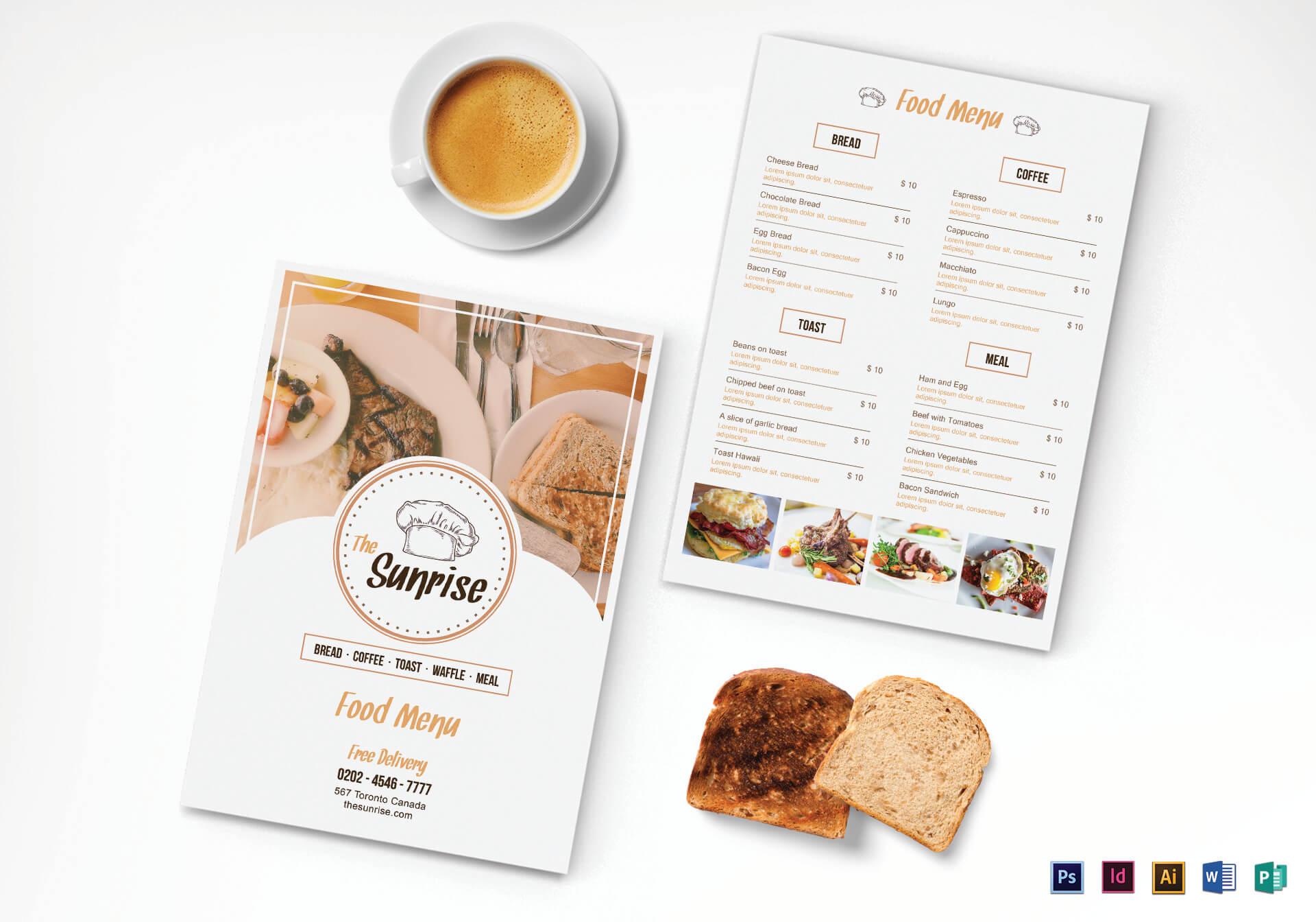 Simple Breakfast Menu Template Intended For Breakfast Menu Template Word