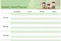 Simple Meal Planner for Breakfast Lunch Dinner Menu Template