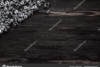 Some Wood Crews On Dark Wooden Desk Board Surface. Top View throughout Borderless Certificate Templates