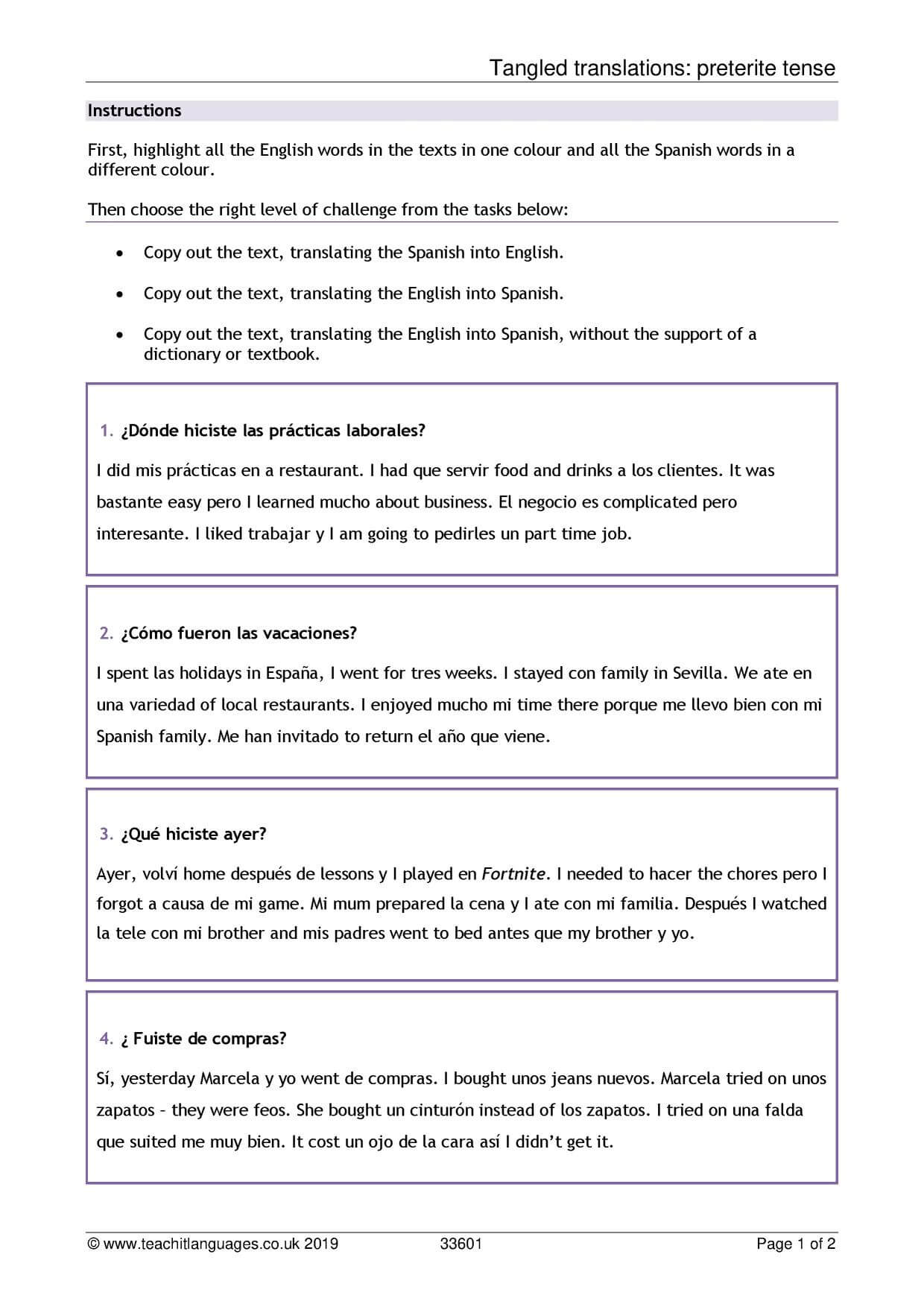 Spanish Language Teaching Resources – Teachit Languages Inside Book Report Template In Spanish