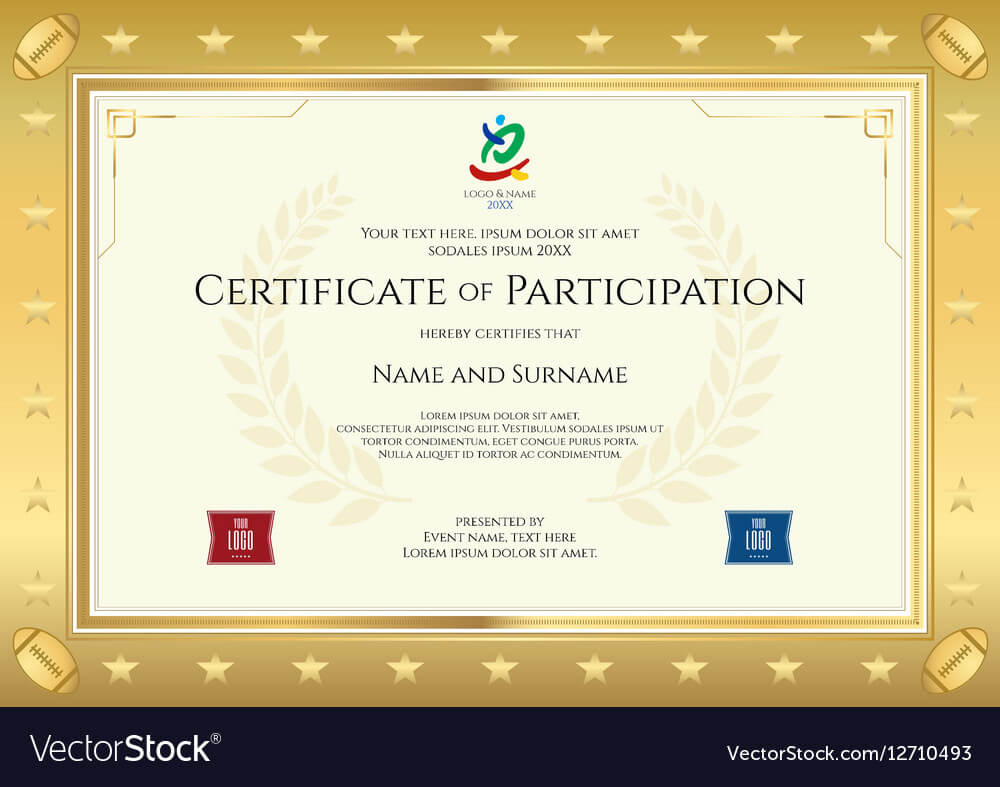 Sport Theme Certificate Of Participation Template In Certificate Of Participation Template Pdf