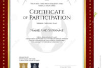 Sport Theme Certificate Of Participation Template Stock with regard to Certification Of Participation Free Template