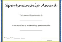 Sports – Sportsmanship Award Certificate Template – Sample pertaining to Athletic Certificate Template