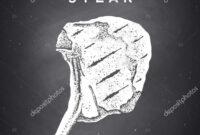 Steak Chalkboard Poster Steak Silhouette Text Tomahawk Steak inside Chalkboard Poster Template