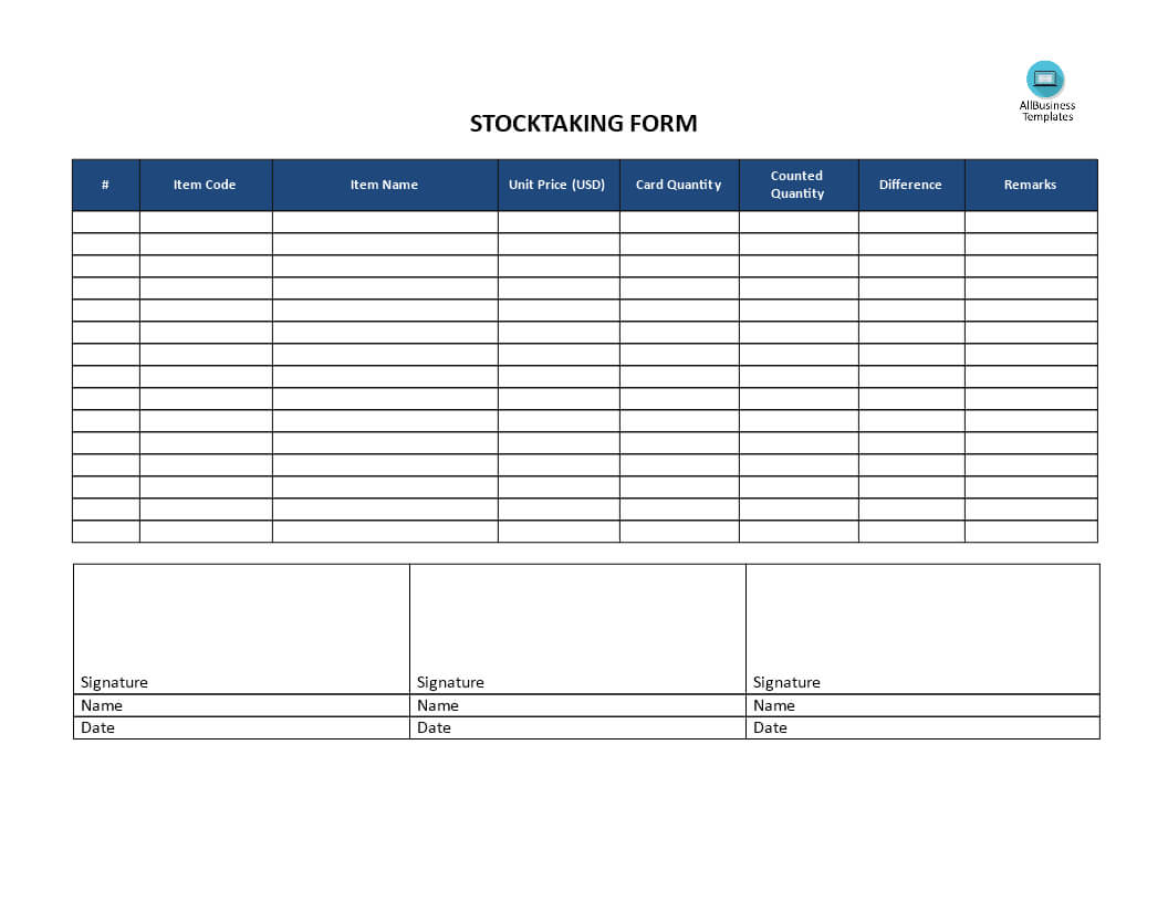 Stocktaking Template | Templates At Allbusinesstemplates In Bin Card Template
