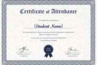 Students Attendance Certificate Template intended for Certificate Of Attendance Conference Template