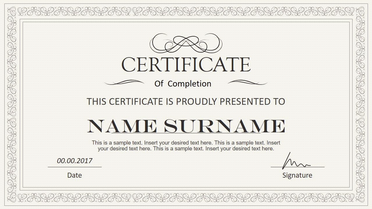 Stylish Certificate Powerpoint Templates With Award Certificate Template Powerpoint
