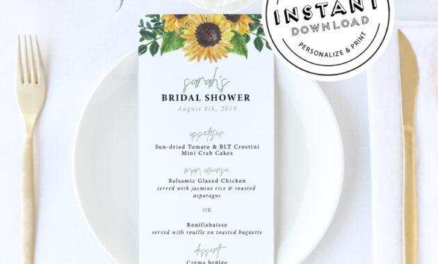 Sunflower Wedding Menu | Rustic Sun Flower Bridal Shower Menu | Menu  Template Diy Download | Wedding Menu | Bridal Shower Menu Editable for Bridal Shower Menu Template